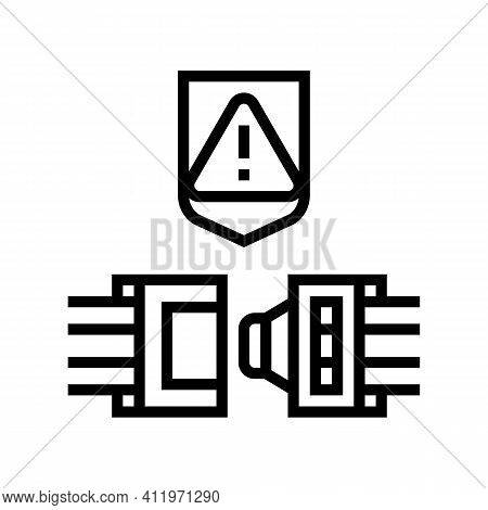 Wire Cable Protect Line Icon Vector. Wire Cable Protect Sign. Isolated Contour Symbol Black Illustra