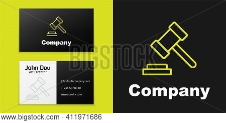 Logotype Line Judge Gavel Icon Isolated On Black Background. Gavel For Adjudication Of Sentences And