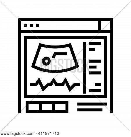 Ultrasound Radiology Line Icon Vector. Ultrasound Radiology Sign. Isolated Contour Symbol Black Illu