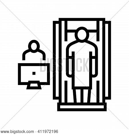 Hospital Cabinet Radiology Line Icon Vector. Hospital Cabinet Radiology Sign. Isolated Contour Symbo