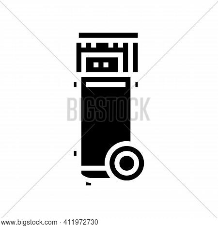 Mobile Air Compressor Glyph Icon Vector. Mobile Air Compressor Sign. Isolated Contour Symbol Black I