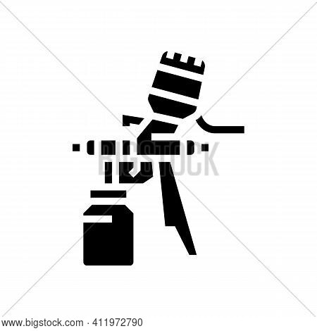 Paint Tool From Air Compressor Glyph Icon Vector. Paint Tool From Air Compressor Sign. Isolated Cont