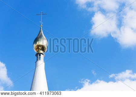Eastern Orthodox Church. Golden Dome Monastery. Roof Domes Architecture Background. Christian Religi