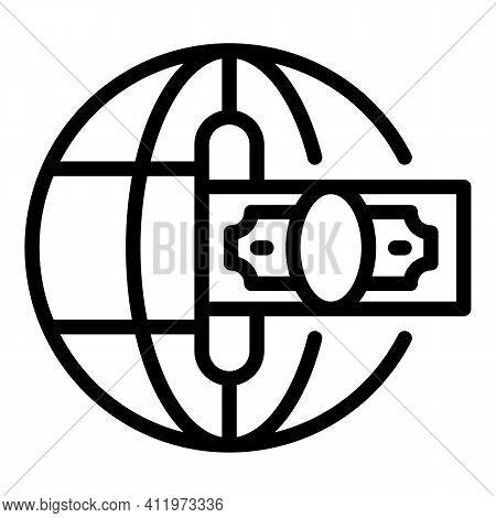 Premium Global Money Transfer Icon. Outline Premium Global Money Transfer Vector Icon For Web Design