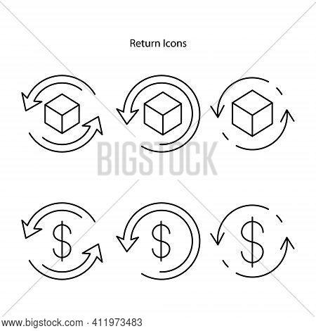 Return Purchase Icon. Package Return, Delivery Return Symbols. Parcel Return To Sender Concept. Retu