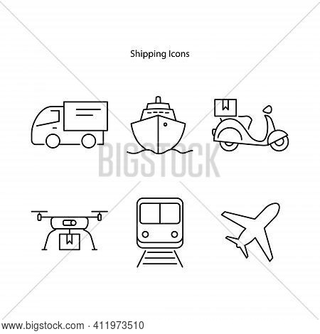 Shipping Icon Isolated On White Background From Delivery Collection. Shipping Icon Thin Line Outline