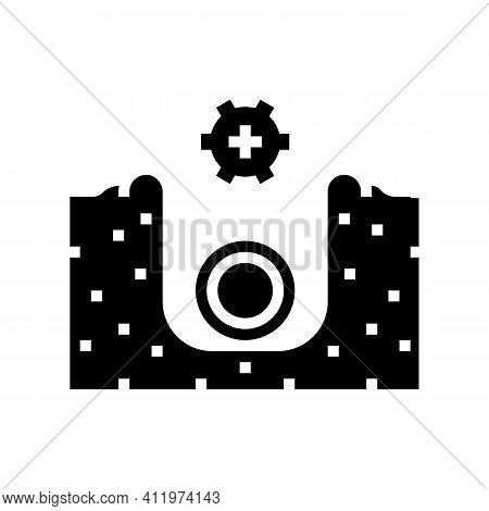 Plumbing Of Drainage System Glyph Icon Vector. Plumbing Of Drainage System Sign. Isolated Contour Sy