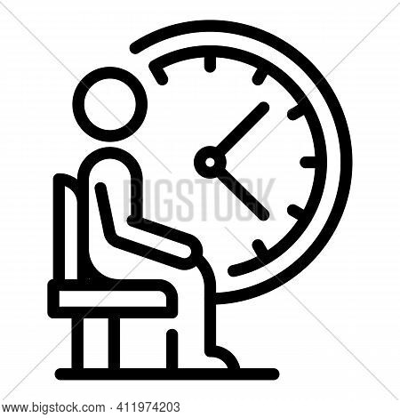 Passenger Time Icon. Outline Passenger Time Vector Icon For Web Design Isolated On White Background