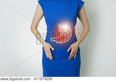 Photo Template Of Unrecognizable Woman Representing Graphic Visualisation Of Stomach Organ Highlight