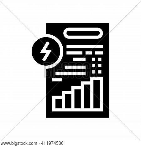 Invoice Document Of Energy Saving Glyph Icon Vector. Invoice Document Of Energy Saving Sign. Isolate