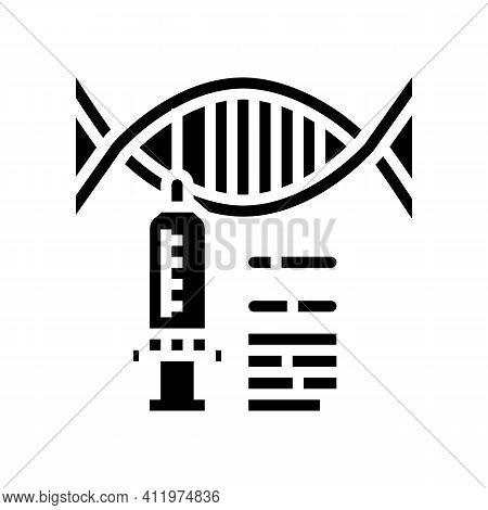 Syringe Molecular Genetic Glyph Icon Vector. Syringe Molecular Genetic Sign. Isolated Contour Symbol