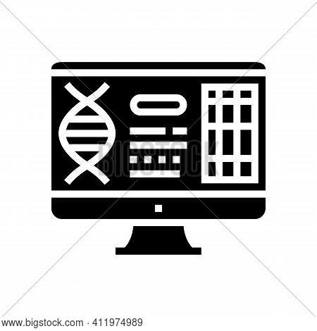 Computer Research Genetic Molecule Glyph Icon Vector. Computer Research Genetic Molecule Sign. Isola