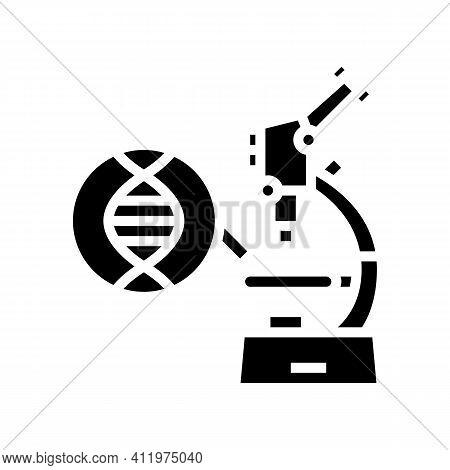 Microscope For Research Genetic Molecule Glyph Icon Vector. Microscope For Research Genetic Molecule