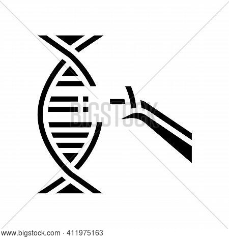 Modification And Construction Genetic Molecule Glyph Icon Vector. Modification And Construction Gene