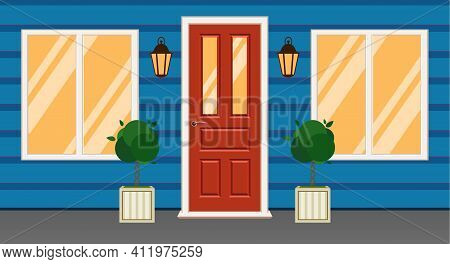 Facade Of House, White Wall With Red Door.