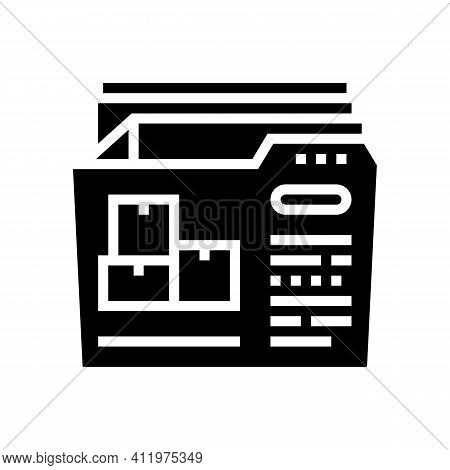 Documentation Of Logistics Company Glyph Icon Vector. Documentation Of Logistics Company Sign. Isola
