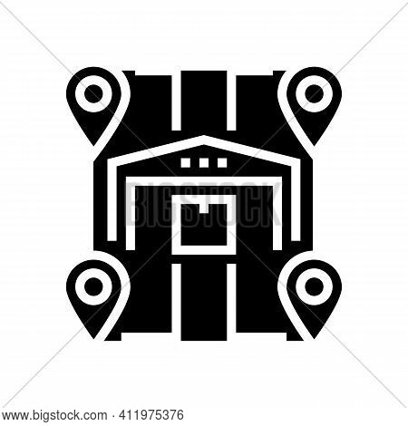 Storehouses Location Glyph Icon Vector. Storehouses Location Sign. Isolated Contour Symbol Black Ill
