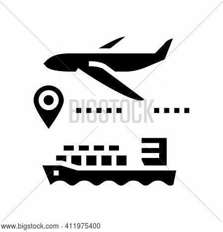 Airplane And Ship Delivering Glyph Icon Vector. Airplane And Ship Delivering Sign. Isolated Contour