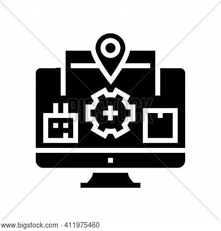 Production To Client Logistics Process Glyph Icon Vector. Production To Client Logistics Process Sig