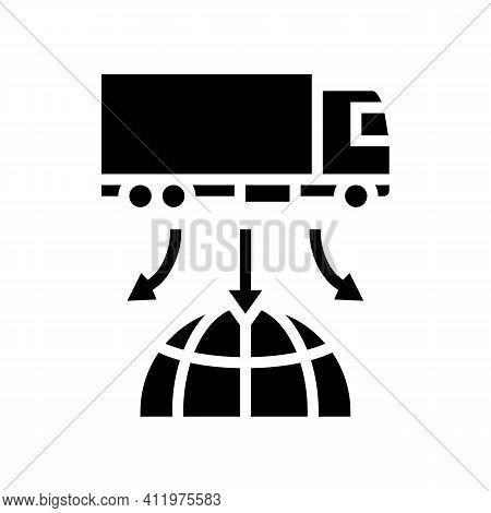 Truck Delivery World Logistics Glyph Icon Vector. Truck Delivery World Logistics Sign. Isolated Cont