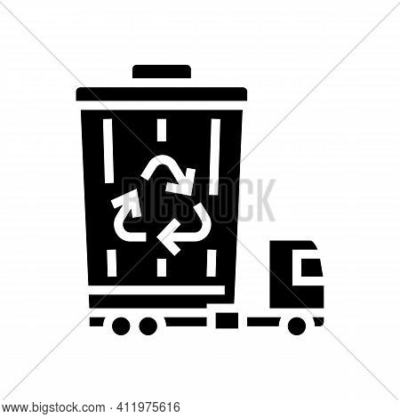 Garbage Removal And Disposal Logistics Glyph Icon Vector. Garbage Removal And Disposal Logistics Sig