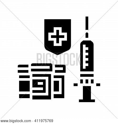 Syringe Medical Treatment And Health Protect Glyph Icon Vector. Syringe Medical Treatment And Health