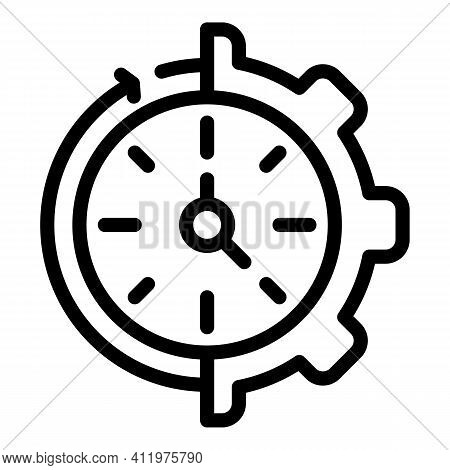 Gear Wheel Time Management Icon. Outline Gear Wheel Time Management Vector Icon For Web Design Isola
