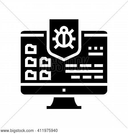 Anti-virus Computer Protect Glyph Icon Vector. Anti-virus Computer Protect Sign. Isolated Contour Sy