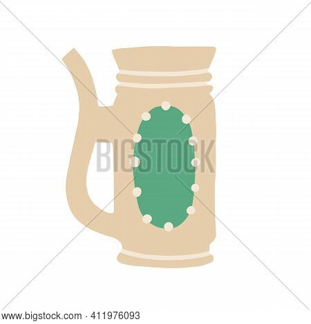 Mug From Clay Decorated With Ornament And Handle. Earthenware Jug With Wide Neck. Pottery For Bevera