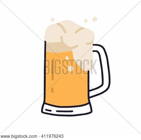 Glass Mug With Handle Full Of Light Beer With Foam And Bubbles. Cold Refreshing Alcoholic Drink. Pin