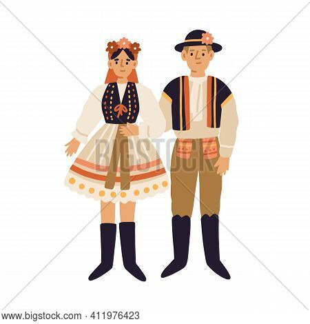 Young People In Czech National Clothing. Couple Of Man And Woman In Traditional Costumes. Colored Fl