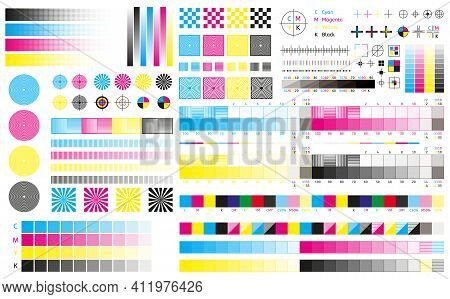 Printing Cmyk Marks. Offset Print Calibration Marks, Gradient Color Tone, Color Bars And Registratio