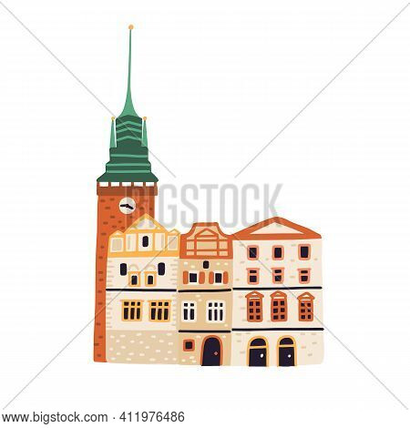 Green Gate Or Zelena Brana In Pardubice. Old Czech Building With Tower And Spire. Colored Flat Vecto