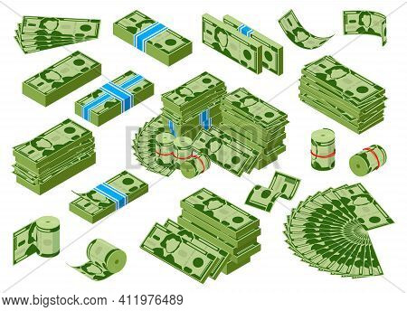 Isomeric Money. Dollar Banknotes Piles, Green Dollar Bills Stack, Earnings Money Treasure. Money Cas