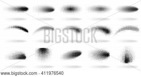 Halftone Dotted Shapes. Abstract Dots Gradient Wave Effect Shapes, Halftone Gradient Spray Texture V