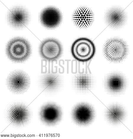 Halftone Round Patterns. Circle Dots Gradient Vector Frames, Dotted Texture Halftone Texture. Abstra