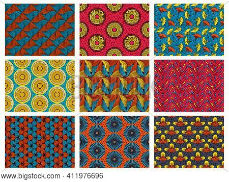 African Wax Pattern. Abstract Floral Seamless Ornament, Vintage Decorative African Textile Vector Ba