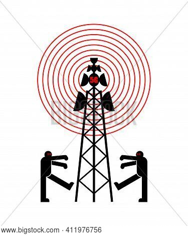 5g Tower Chipping Population. Conspiracy Theory. Zombies Walk Around Cell Tower. Tv And Radio Commun