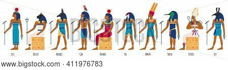 Ancient Egyptian Gods. Egyptian Culture Gods, Anubis, Osiris, Isis, Bastet And Amun Ra. Historical E