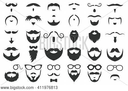 Moustaches And Beards. Vintage Hipster Moustache Silhouettes, Moustache And Beard Masculine Vector S