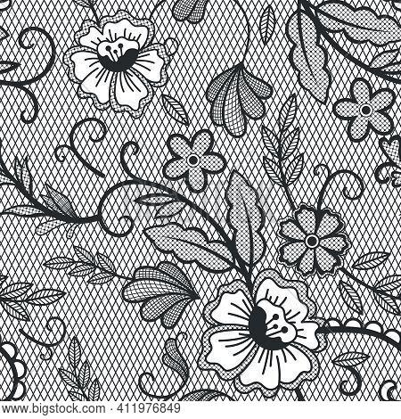 Lace Seamless Pattern. Vintage Lace Decorative Pattern, Embroidered Textile Floral Ornament. Cotton