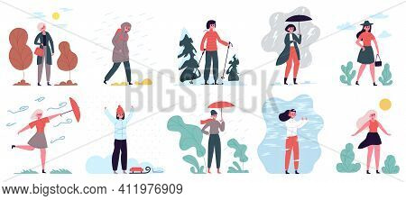 Woman In Different Weather. Girl Walking In Cloudy, Windy, Rainy And Cold Weather Vector Illustratio