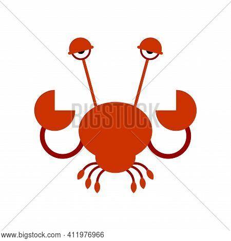 Crab Cartoon Isolated. Sea Crayfish Vector Illustration