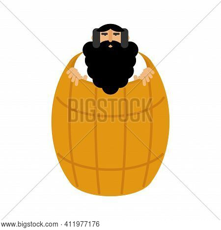 Diogenes In Barrel. Ancient Greek Philosopher. Historic