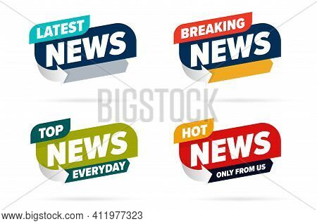 Broadcast News Info Label Set Template For Television Media. Latest, Hot Breaking News, Everyday Top