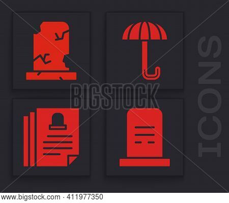 Set Grave With Tombstone, Old Grave With Tombstone, Umbrella And Death Certificate Icon. Vector
