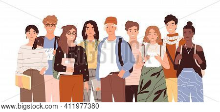 Group Of Diverse Modern Students Or Classmates Standing Together. Portrait Of Happy Young People Iso