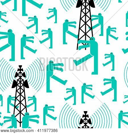 5g Tower Chipping Population Pattern Seamless. Conspiracy Theory Ornament. Zombies Walk Around Cell