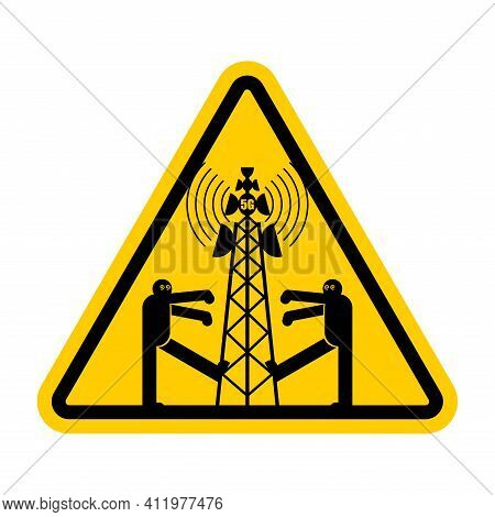 Attention 5g Tower Chipping Population. Warning Yellow Road Sign. Caution Zombies Walk Around Cell T