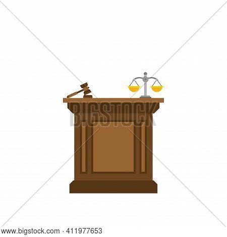 Tribune Of Judge Isolated. Rostrum Judicature. Vector Illustration